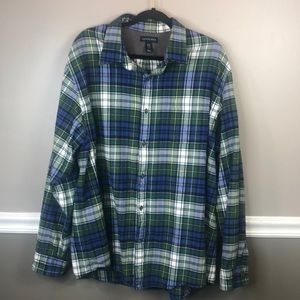 Lands End XXL Plaid Flannel Shirt Long Sleeve